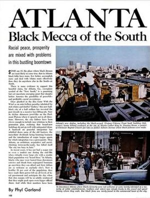 "Black mecca - 1971 Ebony article calling Atlanta the ""black mecca"" of the South"