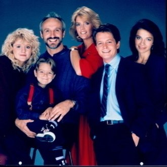 Family Ties - Cast of Family Ties (from left): Tina Yothers, Brian Bonsall (added in season five), Michael Gross, Meredith Baxter-Birney, Michael J. Fox, and Justine Bateman.