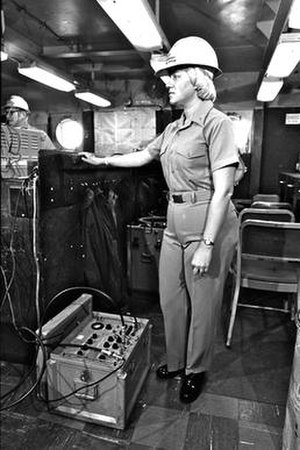 USS Norton Sound (AVM-1) - Ensign Charlene Albright, one of first women assigned to shipboard duty, aboard the USS Norton Sound, 1978