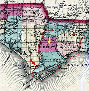 John Forbes and Company -  The western border between Franklin County and Calhoun (modern Gulf) County follows the border of the Forbes Purchase (red arrow).  Likewise, Liberty County was formed from Franklin and Gadsden Counties partly to separate lands in the original Forbes Purchase from public lands (yellow arrow).  The red dotted line approximates the outline of the Forbes Purchase.
