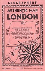 The cover of the Authentic Map of London from 1957
