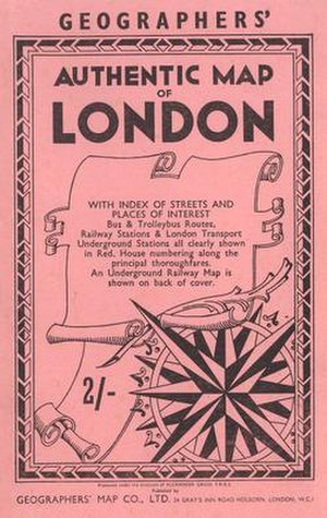 Geographers' A–Z Street Atlas - The cover of the Authentic Map of London from 1957