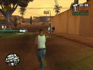 Grand Theft Auto: San Andreas - The player has a gunfight with members of an enemy gang.