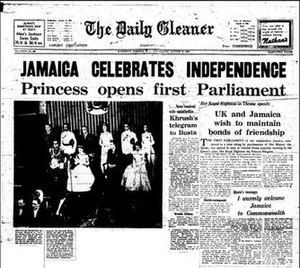 Independence of Jamaica - Front page of The Daily Gleaner announcing Jamaican independence.