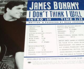 I Dont Think I Will 1996 single by James Bonamy