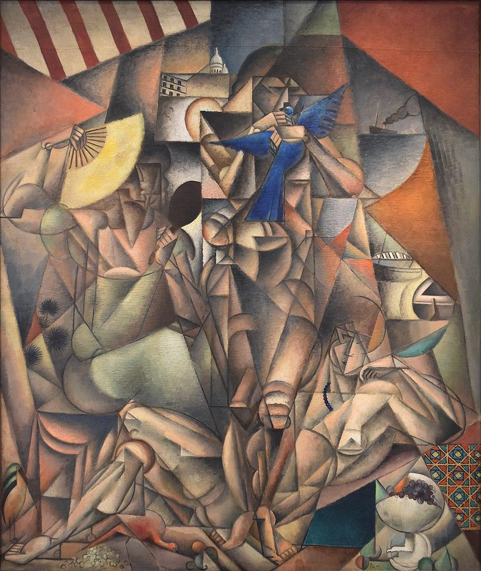 Jean Metzinger, 1912-1913, L'Oiseau bleu, (The Blue Bird) oil on canvas, 230 x 196 cm, Musée d'Art Moderne de la Ville de Paris.
