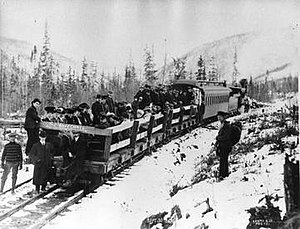 3 ft gauge railways - Passengers riding on the defunct Klondike Mines Railway in 1909.