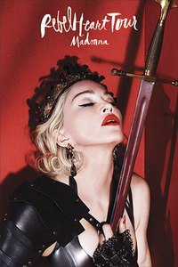 Madonna with her eyes closed in a warrior's dress, holding a sword close to her heart. The singer's and the tour name are written above the image.