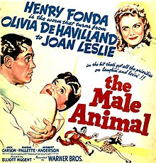 Poster showing illustrations of Henry Fonda, Olivia de Havilland, and Joan Leslie