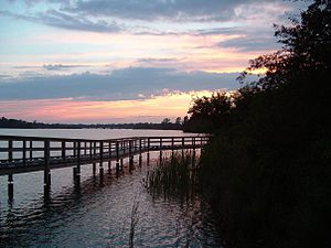 Twelve Mile Creek (Ontario) - A boardwalk in Mel Swart Park along the shore of Lake Gibson is an example of the recreational use of the Twelve Mile Creek watershed.
