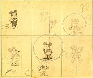 Minnie Mouse - Concept art from early 1928; the drawings, which are the earliest of Mickey Mouse, also show a female version of the character (lower right), from the collection of The Walt Disney Family Museum.