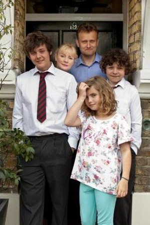 Outnumbered (UK TV series) - The main characters in Outnumbered, as they appeared in series four (left-to-right): Jake (Tyger Drew-Honey), Sue (Claire Skinner), Pete (Hugh Dennis), Karen (Ramona Marquez), and Ben (Daniel Roche).