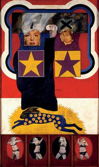 Peter Phillips (artist) - For Men Only – Starring MM and BB (1961), Oil, wood and collage on canvas.
