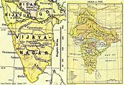 On the right is a map of India which shows it extending from Kashmir in the north to the border with Afghanistan in the west, to Bengal in the east and the Vijayanagara Empire in the South. On the left is a higher resolution map of peninsular India extracted from the first map. It shows the towns and cities of the Vijayanagara Empire, as well as some in the surrounding kingdoms.