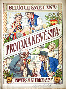 "Brightly illustrated cover of a Czech edition of the ""Prodaná Nevěsta"" score, published around 1919, depicting several of the opera's leading characters"