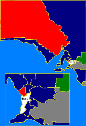 South Australian state election, 2002 - Rural SA: ALP in red, Liberal in blue, Independents in white,  Nationals in green. These boundaries are based on the 2006 electoral redistribution.