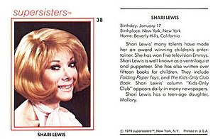 Shari Lewis - Front and back of Supersisters card