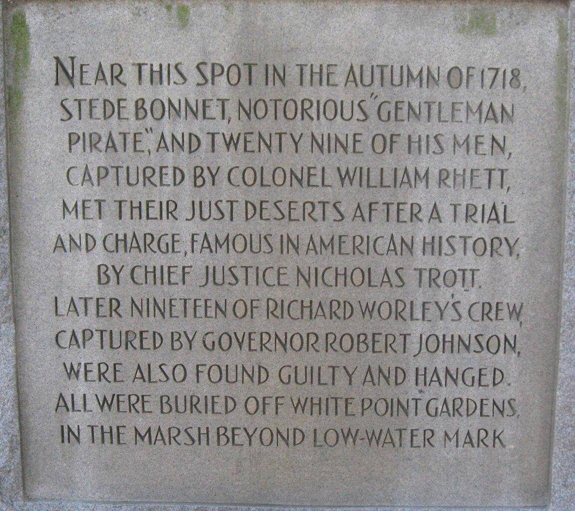 Wedding White Point Gardens Charleston Sc: File:Stede-Bonnet-Monument Charleston-SC.jpg