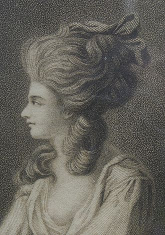 Lady Diana Beauclerk - Part of a stipple engraving, published by John Boydell in 1782, after Lady Diana's 1779 drawing of her friend and cousin Georgiana Cavendish.