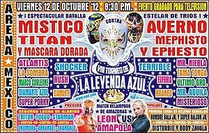 CMLL Super Viernes (October 2012) - Poster for the Leyenda de Azul Tournament