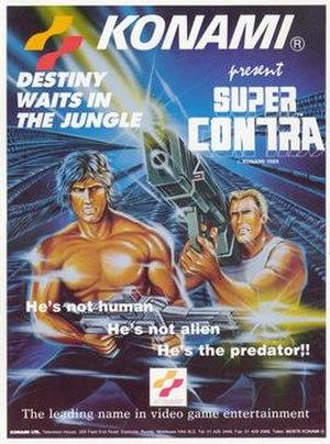 Super Contra - European brochure for the 1988 arcade release.