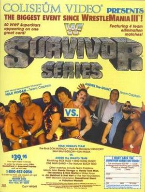Survivor Series (1987) - VHS flyer featuring the Two teams competing in the main event
