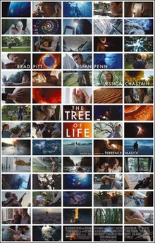 A series of images from the film arranged like mosaic tiles around the logo