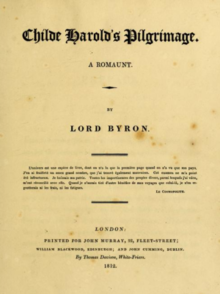 Title Page of Childe Harold's Pilgrimage, circa 1812.png