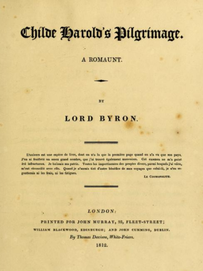 Title Page of Childe Harold%27s Pilgrimage, circa 1812