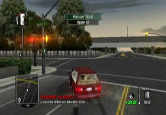 "True Crime: Streets of LA - Driving in True Crime. The car's health gauge is on the top left of the screen. The ""Crime Alert"" indicates a random crime has just happened, with the player given the option of investigating it. In the mini-map on the bottom left, the green mark indicates the current primary objective. A red mark points to the random crime."