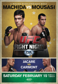 A poster or logo for UFC Fight Night: Machida vs. Mousasi.