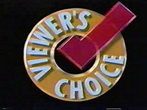 In Demand - Logo of US's Viewer's Choice, which preceded iN DEMAND. Many different color schemes were used; the 3D version was used 1992-2000.
