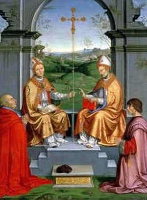 Timoteo Viti - St. Thomas Becket and St. Martin of Tours with Archbishop Giovanni Pietro Arrivabene