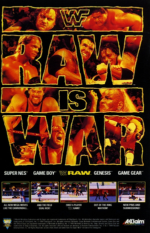 "WWF Raw (1994 video game) - Promotional flyer depicting WWF superstars The Undertaker, Yokozuna, Lex Luger, Razor Ramon, Bret ""Hitman"" Hart, Diesel, Luna Vachon, Owen Hart and Doink the Clown behind the original WWF Raw logo."