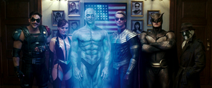 Watchmen (film) - The main cast of Watchmen (from left to right): The Comedian, Silk Spectre II, Dr. Manhattan, Ozymandias, Nite Owl II, and Rorschach
