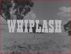 Series title Whiplash superimposed over a stagecoach in the Australian bush