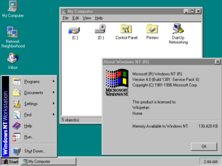 Windows NT 4.0 pre-emptive, graphical operating system by Microsoft