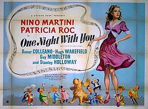 One Night with You (film) - Original British quad poster by Eric Pulford