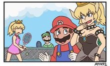 A comic panel depicting Mario and Bowser, the latter transformed into a character resembling Peach, walking past a visibly shocked Peach and Luigi.