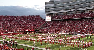 University of Nebraska Cornhusker Marching Band - The Cornhusker Marching Band performing a half-time show in Memorial Stadium.