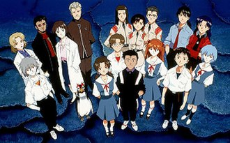 "Neon Genesis Evangelion - The cast of Neon Genesis Evangelion as depicted on the Japanese ""Genesis"" (volume) 14 laserdisc and VHS cover"