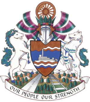Copper (heraldry) - Coat of arms of Whitehorse, Yukon