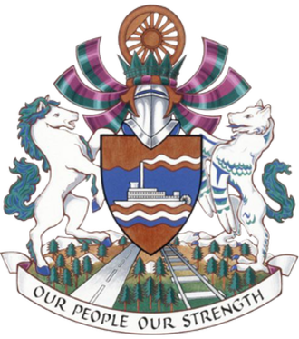 Copper (heraldry) - Coat of arms of Whitehorse, Yukon