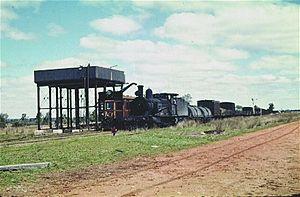 Boggabilla railway line - 3228 crosses a CPH railmotor at Crooble in October 1959