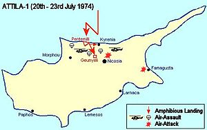 Military operations during the Turkish invasion of Cyprus - Map depicting airborne and amphibious strategy of Attila 1 offensive