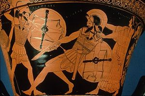 Diomedes - Diomedes attacking Aeneas-Aphrodite stands behind him