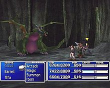 In a cavern, three people face a dragon. Along the bottom is a blue display showing each character's health, magic energy, and waiting time before their turn in battle.