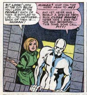 The Galactus Trilogy - Alicia Masters pleads with the Silver Surfer. Art by Jack Kirby.