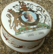 A trinket pot, sold as merchandise for the Golden Jubilee.