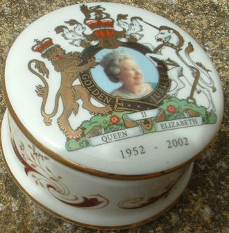 Golden Jubilee of Queen Elizabeth II - A trinket pot, sold as memorabilia merchandise for the Golden Jubilee